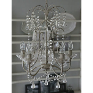 lampadario chic antique 5 luci con goccie e piattini